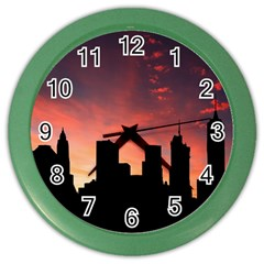 Skyline Panoramic City Architecture Color Wall Clock
