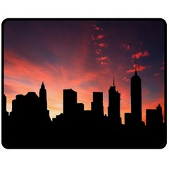 Skyline Panoramic City Architecture Double Sided Fleece Blanket (medium)