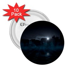 Skyline Night Star Sky Moon Sickle 2 25  Buttons (10 Pack)  by Samandel