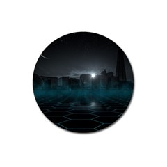 Skyline Night Star Sky Moon Sickle Magnet 3  (round)