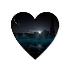 Skyline Night Star Sky Moon Sickle Heart Magnet