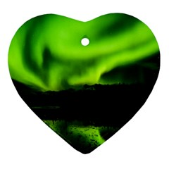 Aurora Borealis Northern Lights Sky Heart Ornament (two Sides)