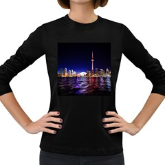 Toronto City Cn Tower Skydome Women s Long Sleeve Dark T Shirt