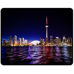 Toronto City Cn Tower Skydome Fleece Blanket (medium)  by Samandel