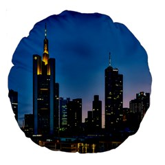 Frankfurt Germany Panorama City Large 18  Premium Round Cushions by Samandel