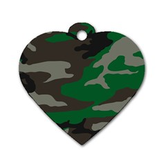 Army Green Camouflage Dog Tag Heart (one Side)