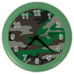Army Green Camouflage Color Wall Clock
