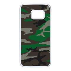 Army Green Camouflage Samsung Galaxy S7 White Seamless Case by Samandel