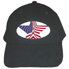 A Star With An American Flag Pattern Black Cap by Samandel