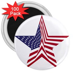 A Star With An American Flag Pattern 3  Magnets (100 Pack)