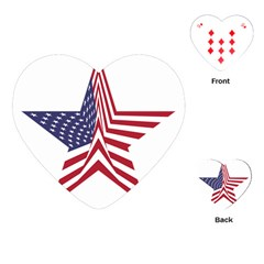 A Star With An American Flag Pattern Playing Cards (heart)