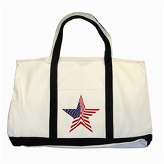A Star With An American Flag Pattern Two Tone Tote Bag