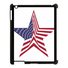 A Star With An American Flag Pattern Apple Ipad 3/4 Case (black) by Samandel