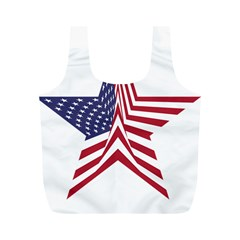 A Star With An American Flag Pattern Full Print Recycle Bag (m) by Samandel