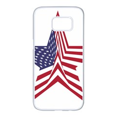 A Star With An American Flag Pattern Samsung Galaxy S7 Edge White Seamless Case