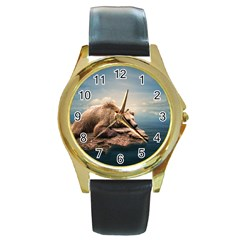 Bear Water Round Gold Metal Watch by AnjaniArt