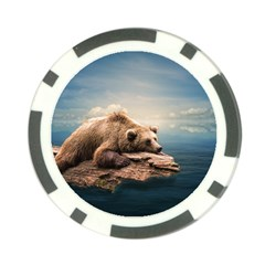 Bear Water Poker Chip Card Guard by AnjaniArt