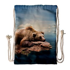 Bear Water Drawstring Bag (large) by AnjaniArt