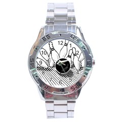Bowling Ball Sport Stainless Steel Analogue Watch by AnjaniArt