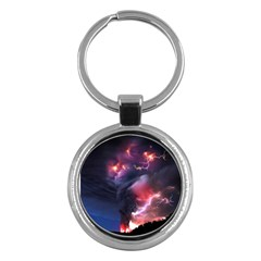 Volcano Lightning Wallpapers Flash Strom Key Chains (round)  by AnjaniArt