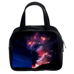 Volcano Lightning Wallpapers Flash Strom Classic Handbag (two Sides) by AnjaniArt