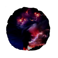 Volcano Lightning Wallpapers Flash Strom Standard 15  Premium Round Cushions