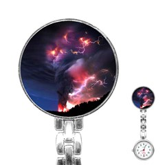 Volcano Lightning Wallpapers Flash Strom Stainless Steel Nurses Watch by AnjaniArt