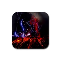 Volcanic Lightning Eruption Rubber Square Coaster (4 Pack)  by AnjaniArt