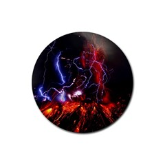 Volcanic Lightning Eruption Rubber Coaster (round)  by AnjaniArt
