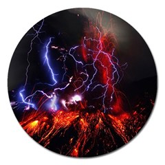 Volcanic Lightning Eruption Magnet 5  (round) by AnjaniArt