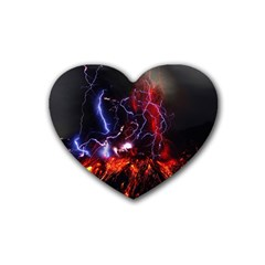 Volcanic Lightning Eruption Heart Coaster (4 Pack)  by AnjaniArt