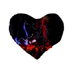 Volcanic Lightning Eruption Standard 16  Premium Flano Heart Shape Cushions
