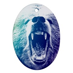 Bear Grizzly Wallpaper Oval Ornament (two Sides)