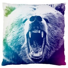 Bear Grizzly Wallpaper Large Flano Cushion Case (two Sides)
