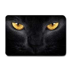 Face Black Eye Cat Small Doormat  by AnjaniArt