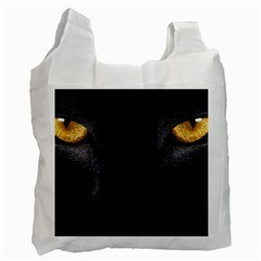 Face Black Eye Cat Recycle Bag (one Side) by AnjaniArt
