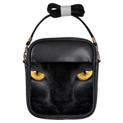 Face Black Eye Cat Girls Sling Bag by AnjaniArt