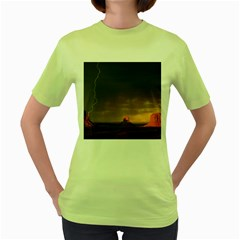 Desert Lighting Strom Flash Women s Green T Shirt
