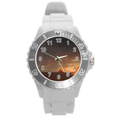 Desert Lighting Strom Flash Round Plastic Sport Watch (l) by AnjaniArt