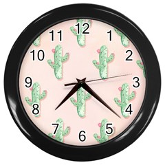 Green Cactus Pattern Wall Clock (black)