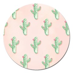 Green Cactus Pattern Magnet 5  (round) by AnjaniArt