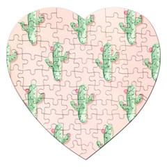 Green Cactus Pattern Jigsaw Puzzle (heart)