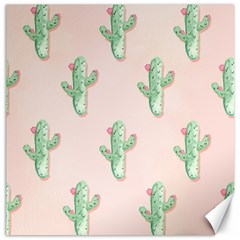 Green Cactus Pattern Canvas 20  X 20
