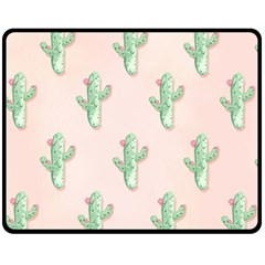 Green Cactus Pattern Fleece Blanket (medium)  by AnjaniArt