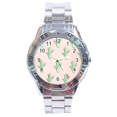 Green Cactus Pattern Stainless Steel Analogue Watch by AnjaniArt