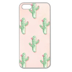 Green Cactus Pattern Apple Seamless Iphone 5 Case (clear)
