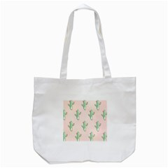 Green Cactus Pattern Tote Bag (white) by AnjaniArt