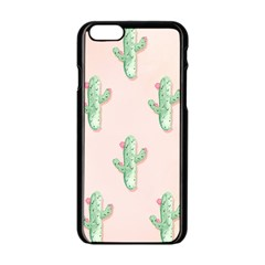 Green Cactus Pattern Apple Iphone 6/6s Black Enamel Case by AnjaniArt