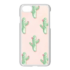 Green Cactus Pattern Apple Iphone 7 Seamless Case (white) by AnjaniArt