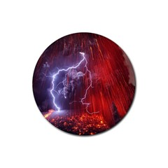 Fire Volcano Lightning Montain Wallpapers Rubber Round Coaster (4 Pack)  by AnjaniArt